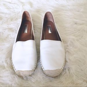 Halogen Espadrilles White Leather Slip On Shoes